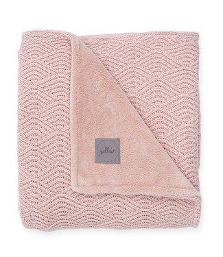 Jollein Jollein deken 100x150cm river knit pale pink/fleece