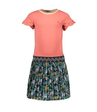 Like Flo Flo girls jersey ruffle dress with AO plisse skirt F102-5850