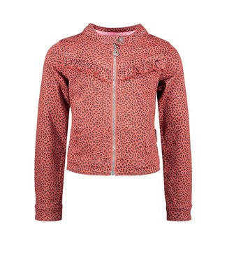 B.Nosy Bnosy  Girls aop mix dots denim jacket with zipper and ruffle Y102-5320