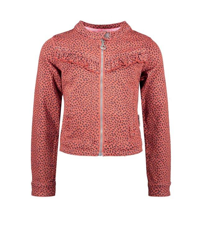 B.Nosy Bnosy  Girls aop mix dots denim jacket with zipper and ruffle Y102-5320