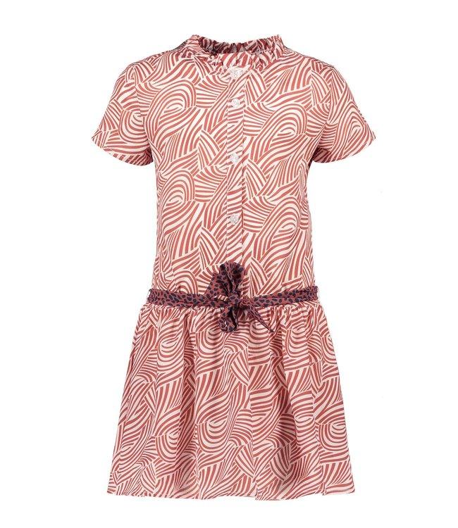 B.Nosy Bnosy Girls mix zebra aop woven dress with contrast belt Y102-5820