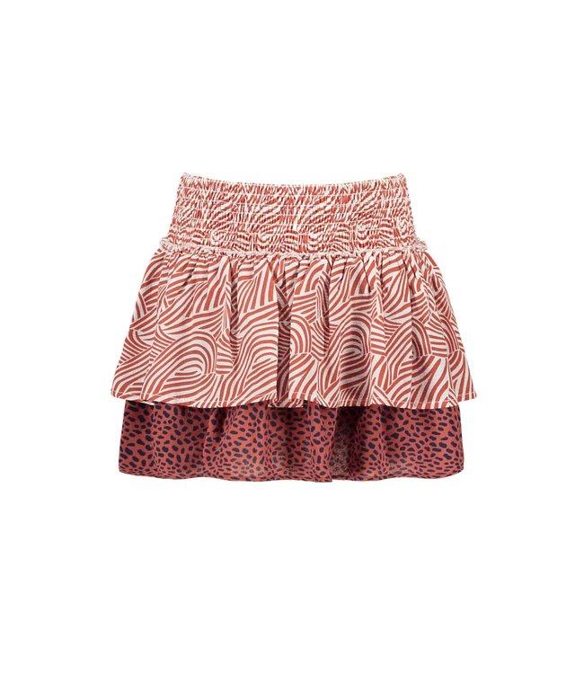 B.Nosy Bnosy Girls 2-layer mix zebra/mix dots aop skirt Y102-5720