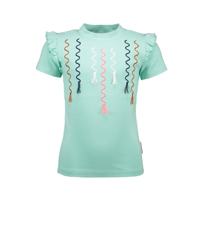 B.Nosy Girls t-shirt with multicolor embro and tassel artwork Ice Green Y102-5422 316