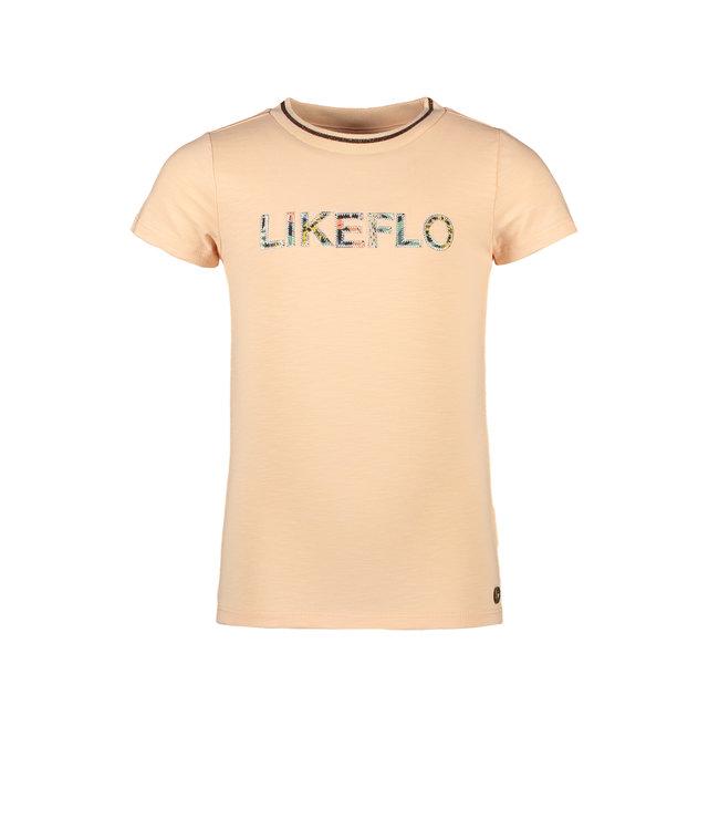 Like Flo Flo girls slub tee with ruffle salmon f102-5448 265