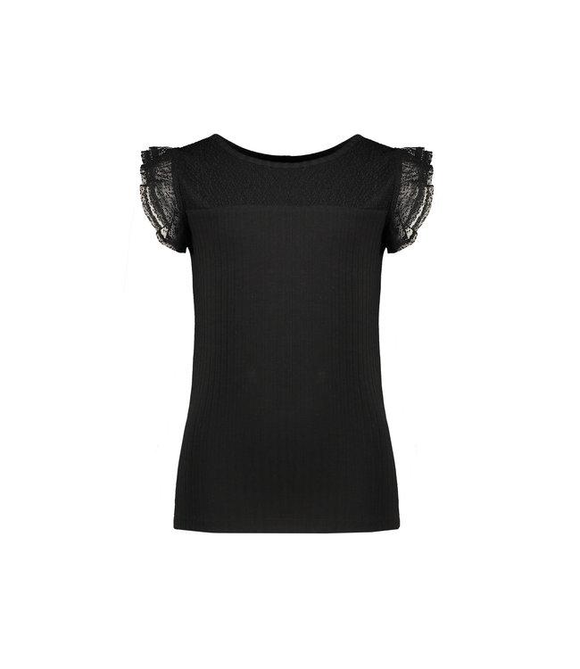 NoNo Nono Kathy rib tshirt with ruffled mesh short sleeves antraciet N102-5403 017