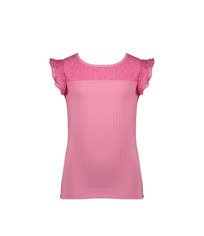 NoNo Nono Kathy rib tshirt with ruffled mesh short sleeves pink N102-5403 234