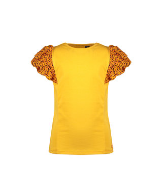 NoNo Nono Kayla ss T-shirt with fancy woven ruffled contrast sleeves N102-5407