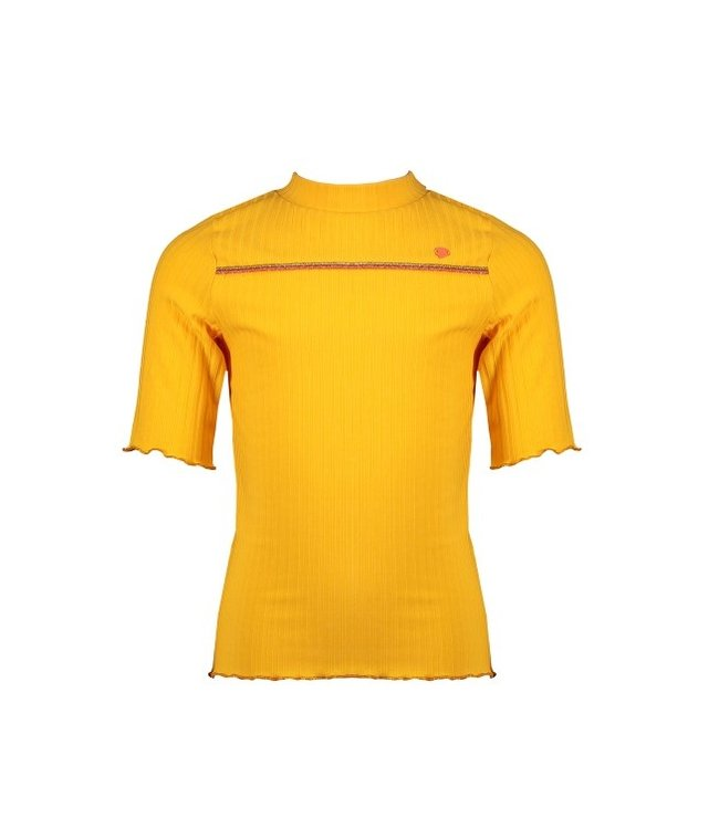 NoNo Nono Kyra 3/4 sl T-shirt rib jersey with piping at chest and small turtle neck N102-5408
