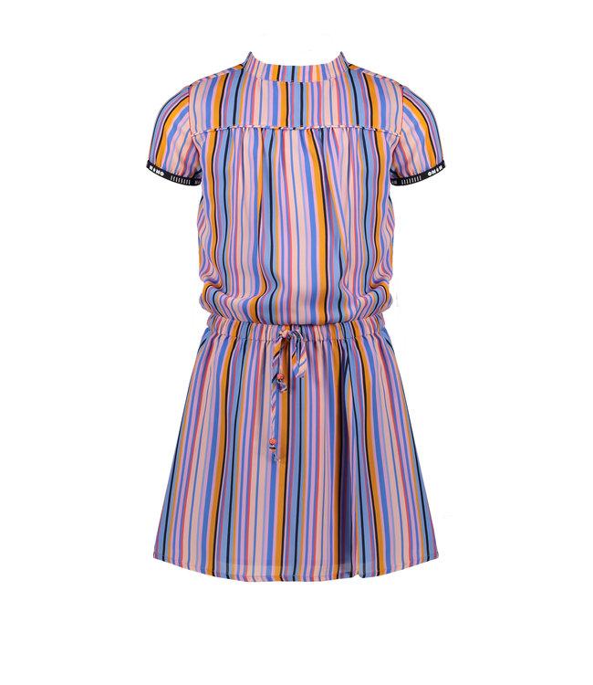 NoNo Nono Mirthe ss woven dress in Bright stripes N102-5803