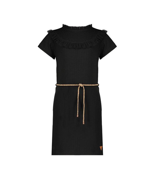 NoNo Nono Moya rib jersey ssl tight dress with fancy mesh details N102-5808