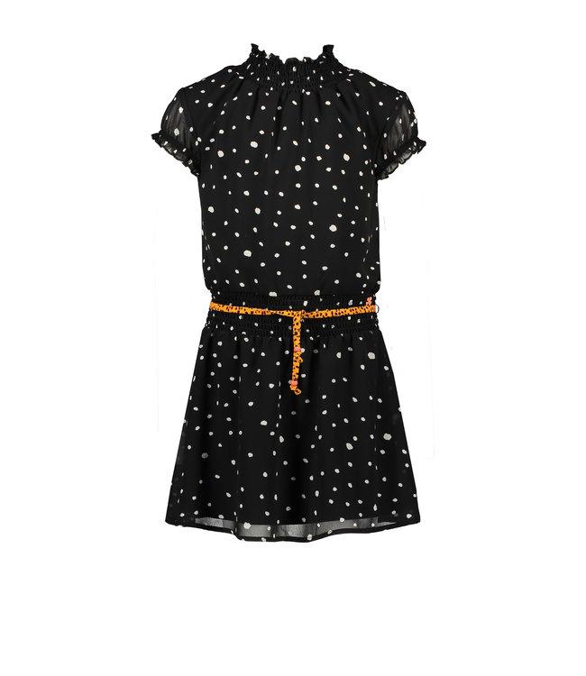NoNo Nono Maui capsleeved little black dress with Cheetah dots N102-5811