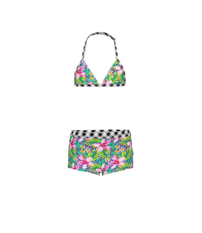 Just Beach Girls ibiza check ao bikini with shorts  J102-5010