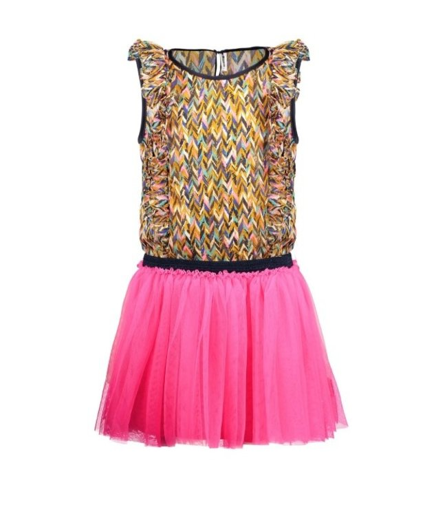 B.Nosy Girls dress with curious aop woven top and mesh skirt Y102-5844