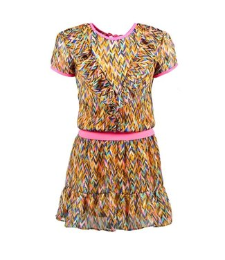 B.Nosy Girls curious aop woven dress with v-shaped ruffle Y102-5841