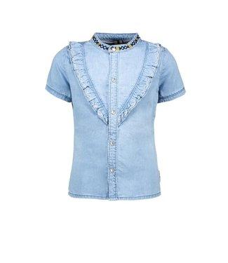 B.Nosy Girls denim blouse with v-shaped ruffle Y102-5140