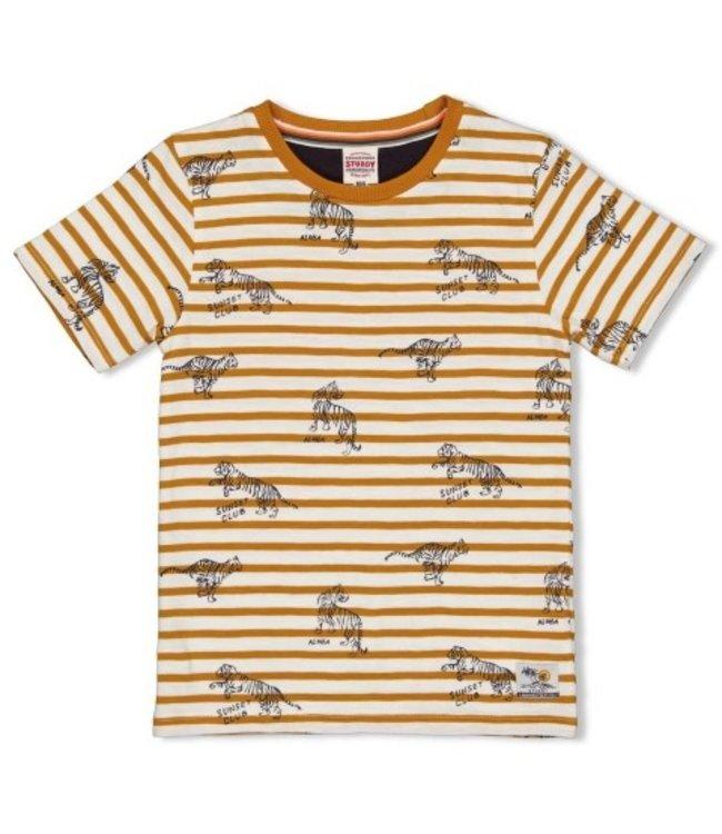 Sturdy Sturdy T-shirt streep - Happy Camper Okergeel 71700314