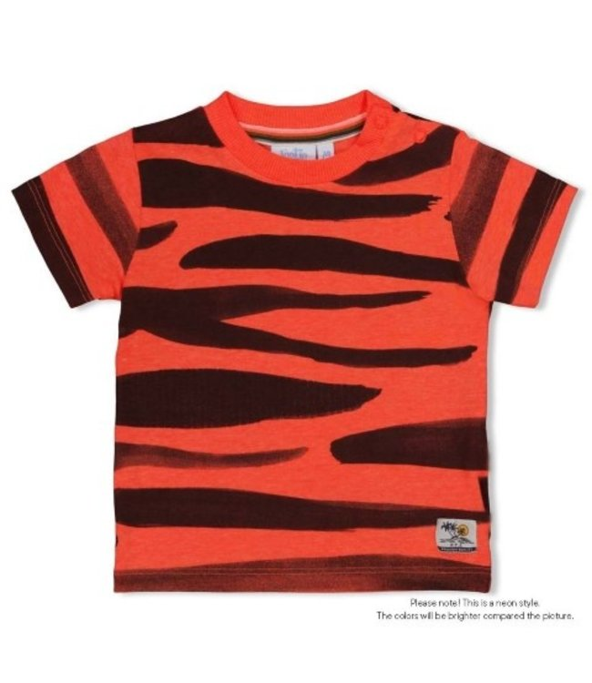 Feetje T-shirt AOP - Happy Camper Neon Koraal 51700646