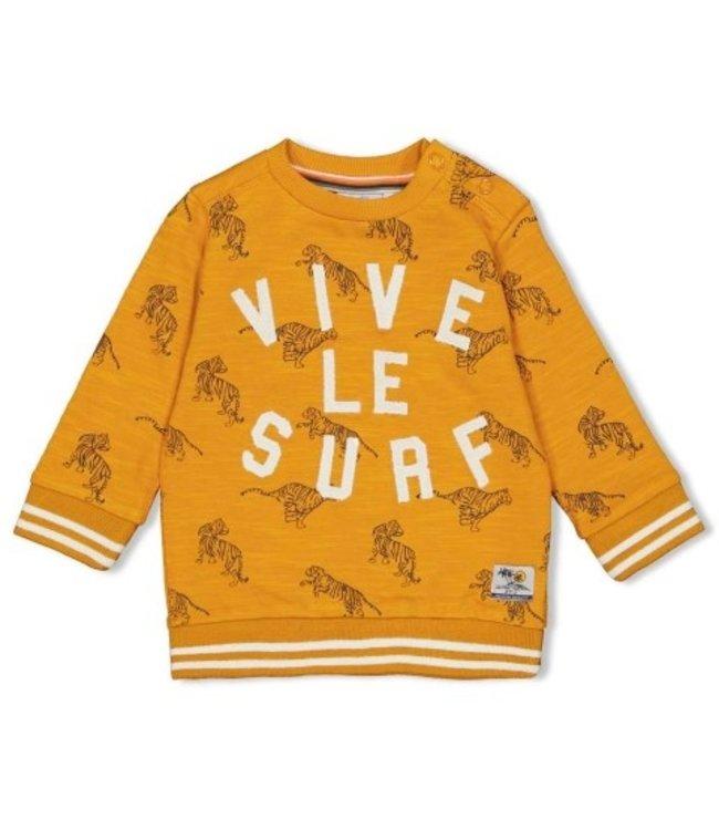 Feetje Sweater AOP - Happy Camper Okergeel 51601698