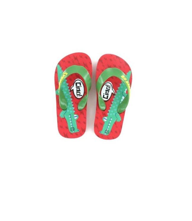 Shoesme GO Banana slipper ALLIGATOR-SL Red Green