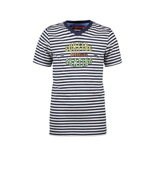 Tygo & Vito T&v T-shirt y/d stripe SURFING/SKATING X103-6461
