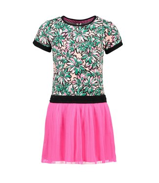 B.Nosy Girls sunny flower ss dress with plisse netting skirt Y103-5854