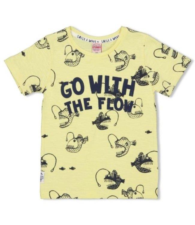 Sturdy T-shirt AOP - Smile & Wave Geel 71700324