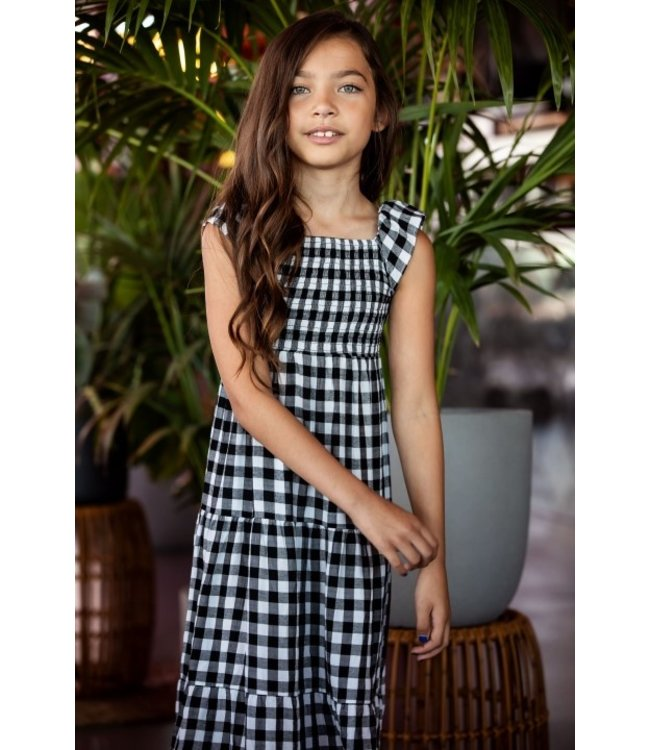 B.Nosy Girls check woven dress with ruffle on shoulders Y103-5850