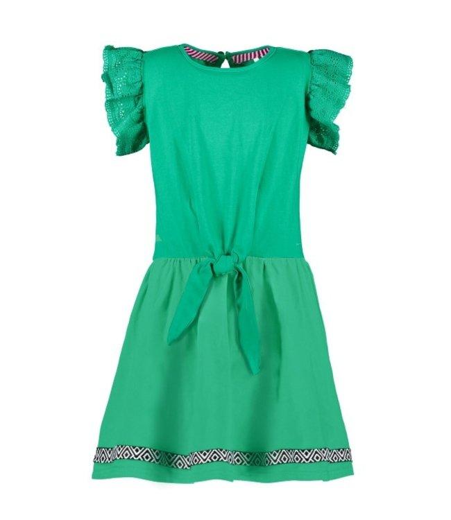 B.Nosy Girls jersey dress with cotton lace fabirc + fancy tape on hem Y103-5852