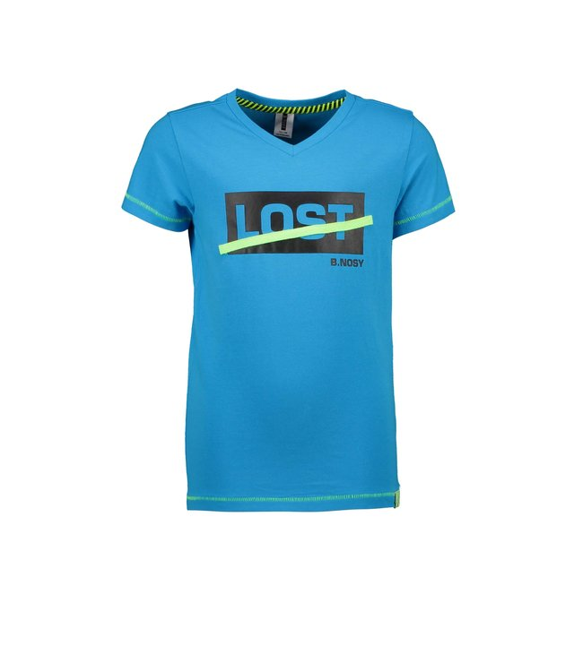 B.Nosy Boys ss with v-neck and chest artwork Surf blue Y103-6423