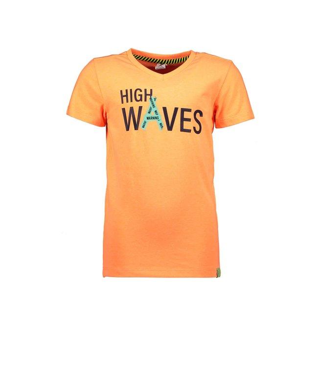 B.Nosy Boys v-neck t-shirt with chest artwork Neon orange Y103-6441