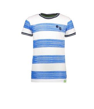 B.Nosy Boys ss shirt with printed panel stripe blue  Y104-6451 140