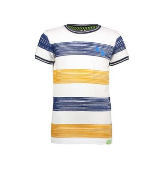B.Nosy Boys ss shirt with printed panel stripe Melee print mustard Y104-6451 512