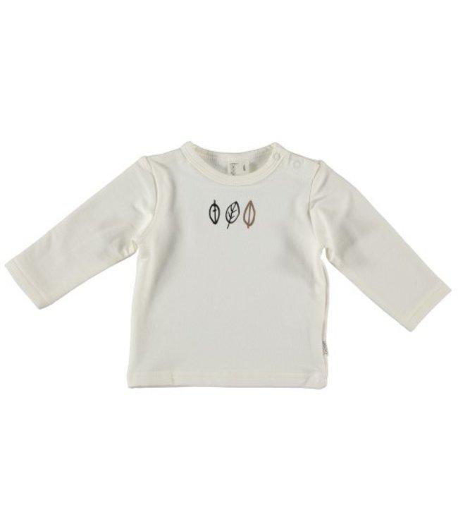 Bess Bess organic  Shirt l.sl. Leaves White BO3003-001
