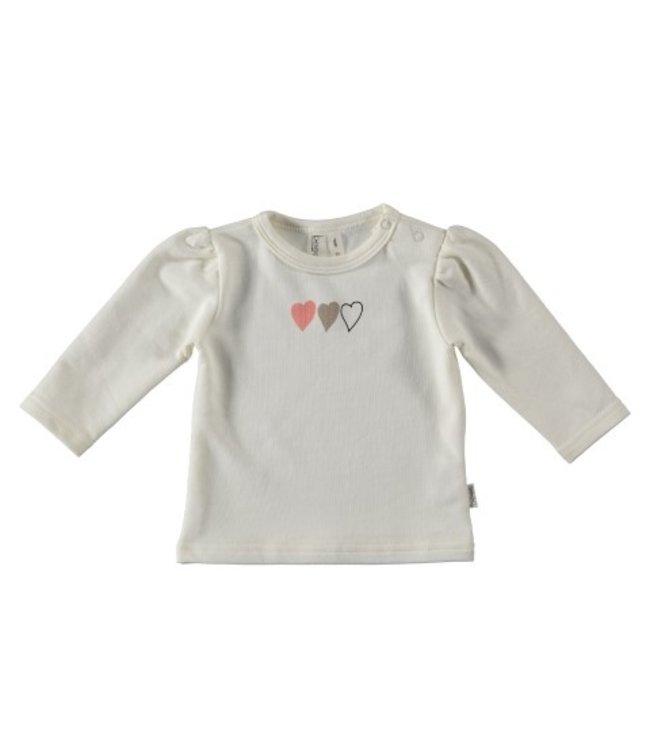 Bess Bess organic  Shirt l.sl. Hearts White BO3011-001