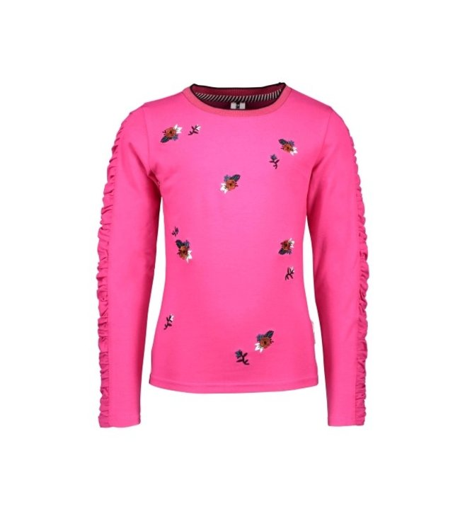 B.Nosy B-nosy Girls t-shirt with gathered sleeve and panel embro Beetroot pink Y108-5422 217