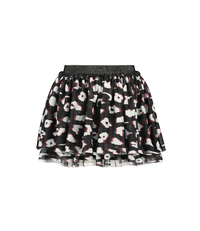 B.Nosy B-nosy Girls 2-layer netting skirt with elasticated wb you leopard Y108-5722 047