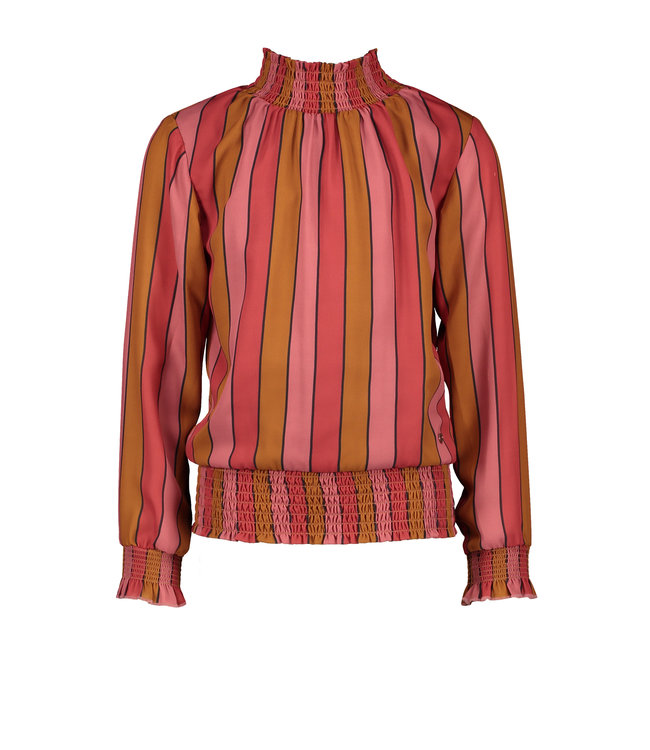 NoNo Nono Tipi recyled PL blouse with smocking at neck+waistband Ruby