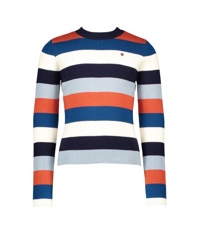 NoNo Nono Kulia yarn dyed multicolor striped flatknitted top rust