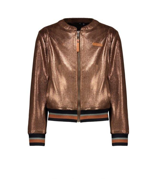 NoNo Nono Daisy baseball bomber cardigan in Shiny suedine warm copper