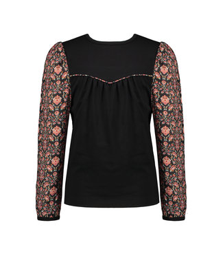 NoNo Nono Kes top/blouse with jersey top+woven sleeves Red Velvet Cake