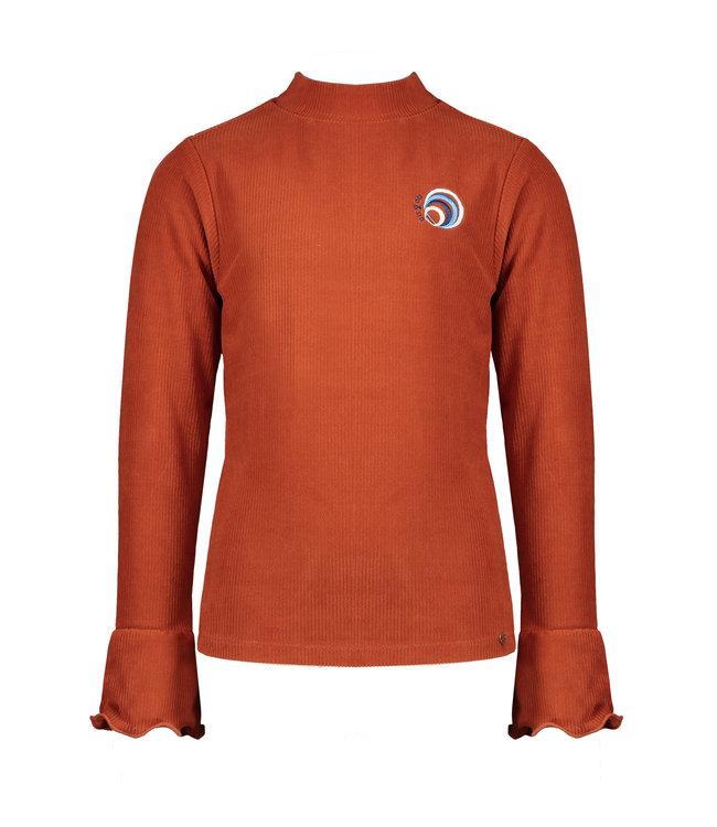 NoNo Nono Kyra rib l/sl turtle neck tshirt with volant at sleeve rust