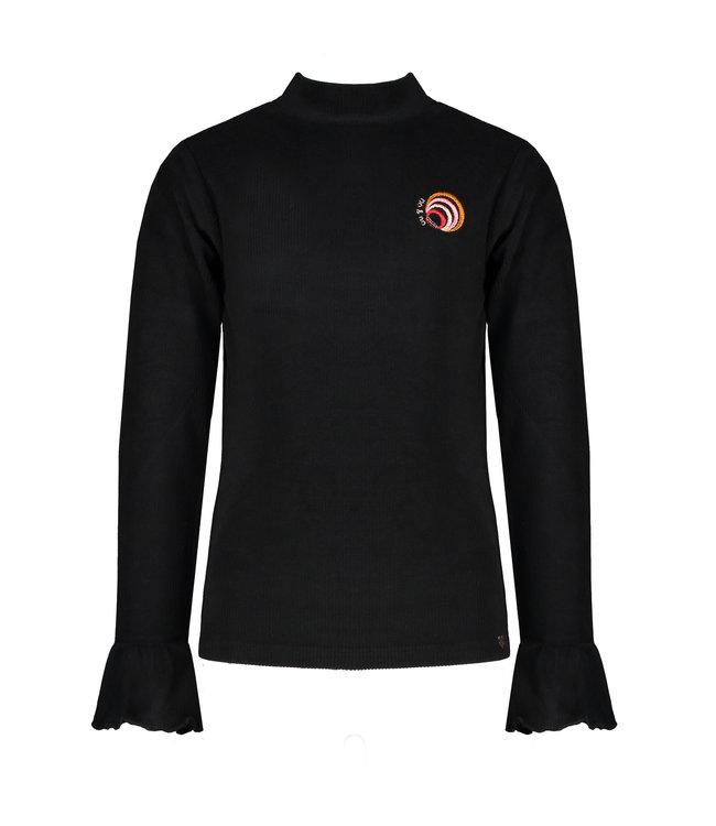 NoNo Nono Kyra rib l/sl turtle neck tshirt with volant at sleeve black
