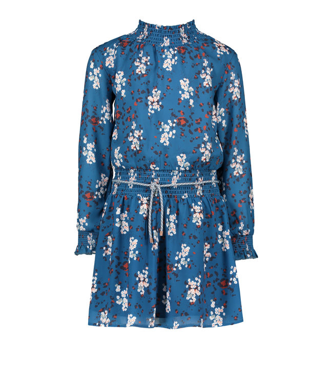 NoNo Nono Maui recycled PL dress with smocked collar in Animal Flower blue