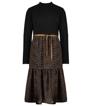 NoNo Nono Mikado maxi dress with velours rib top+woven skirt Black