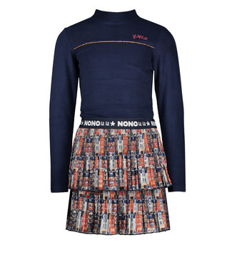NoNo Nono Mika C combi dress with Velours rib top+recycled PL skirt rust