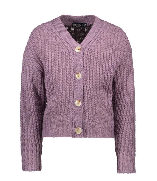 Like Flo Flo girls rib knit cardigan horn button lilac F108-5300