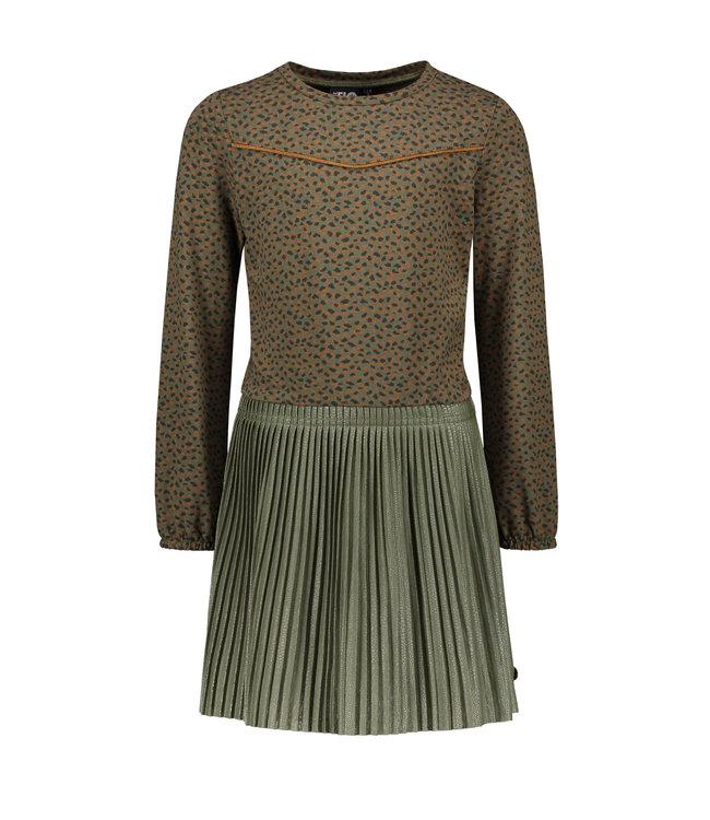 Like Flo Flo girls jacquard jersey dress with short plisse skirt army