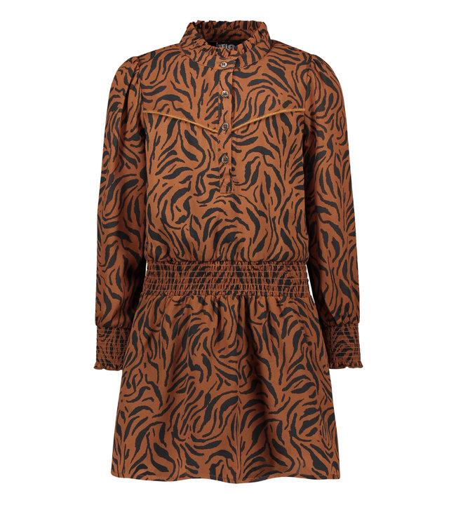Like Flo Flo girls woven crepe dress cognac F108-5830 420