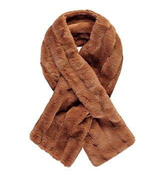 Like Flo Flo girls striped fur scarf  Cognac one size F107-5911 420