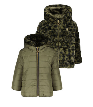 Like Flo Flo baby girls hooded reversible jacket Army F107-7250 355